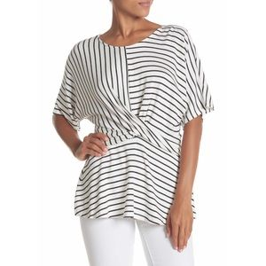 Tops - Anthro striped cross front striped tee sm